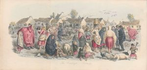Coloured engraving depicting a crowd of poor people in rural Ireland