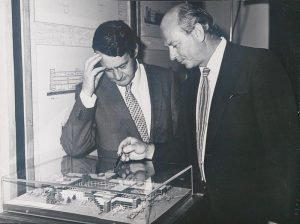 Limerick TD Des O'Malley examines a model of the National Institute for Higher Education