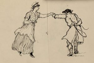 Sketch of two figures dancing
