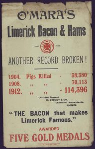 Print advertisement for O'Mara's Limerick Bacon and Hams