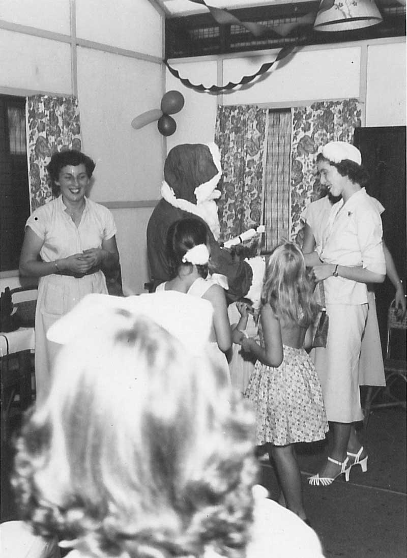 Santa Claus distributing presents