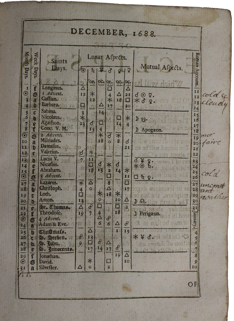 John Gadbury's Ephemerides of the celestial motions and aspects, eclipses of the luminaries