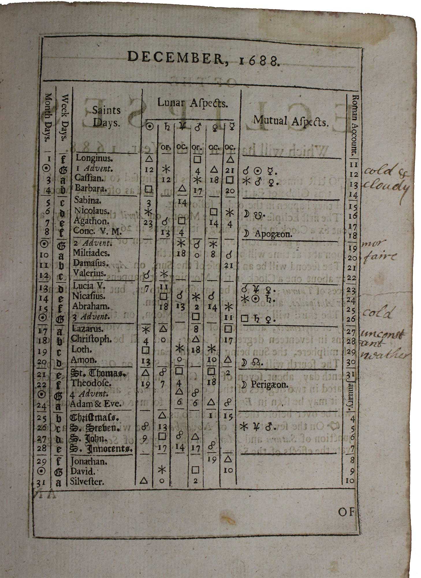 John Gadbury's Ephemerides of the celestial motions and aspects, eclipses of the luminaries,