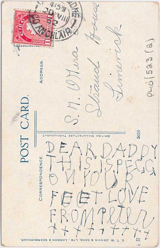 Reverse of postcard