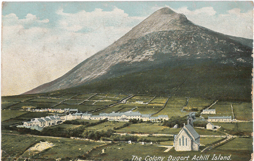 Coloured postcard depicting The Colony Dugort Achill