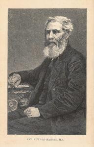 Black-and-white illustration of Revd. Nangle, seated