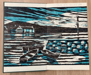 coloured woodcut of Irish seascape