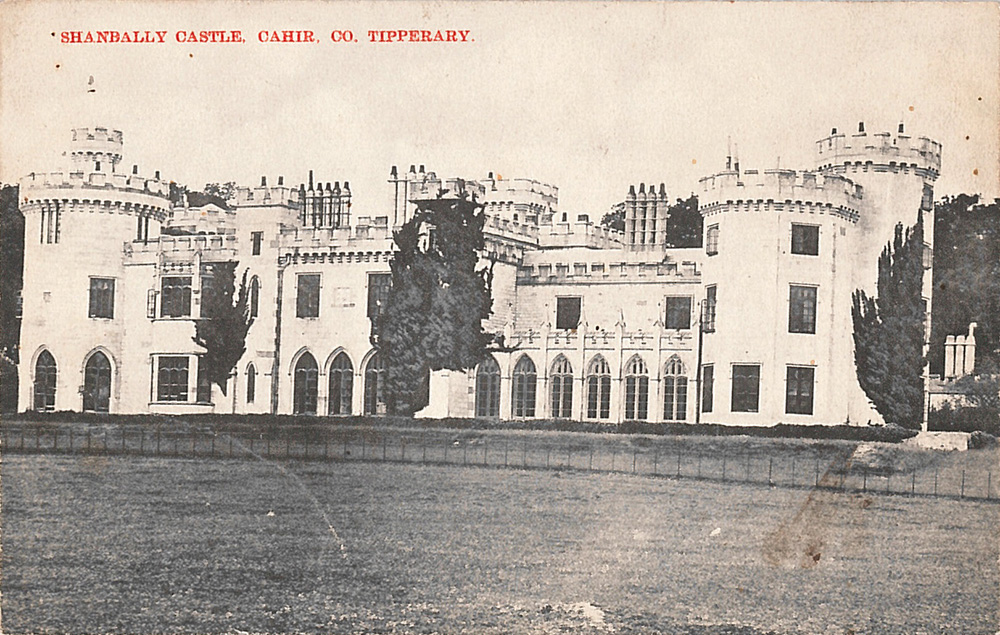 Black and white postcard depicting Shanbally Castle