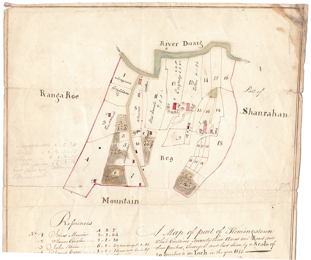 Hand drawn townland map of Flemingstown