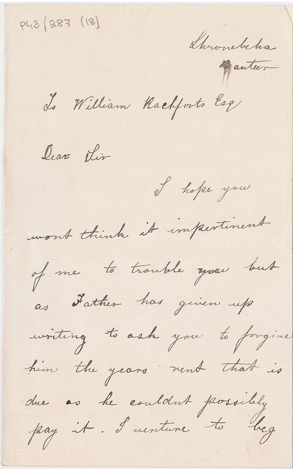 Handwritten letter from Nora O'Sullivan to William Rochfort