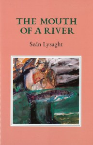 book cover for Séan Lysaght's book The Mouth of a River, featuring artwork of a man fishing