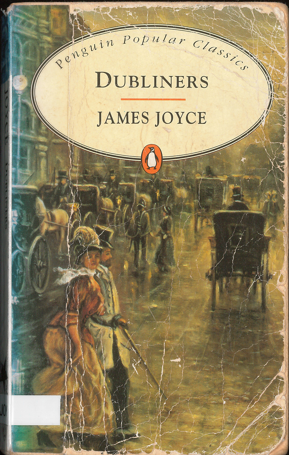 book cover for Joyce's Dubliners, featuring artwork of a Victorian streetscape