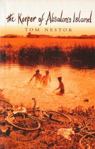 book cover for Tom Nestor's book The Keeper of Absalom's Island, featuring artwork of three children bathing in a lake