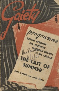 programme for Kate O'Brien's play The Last of Summer, featuring artwork of a curtain