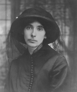 black-and-white portrait of Agnes Daly, with hat