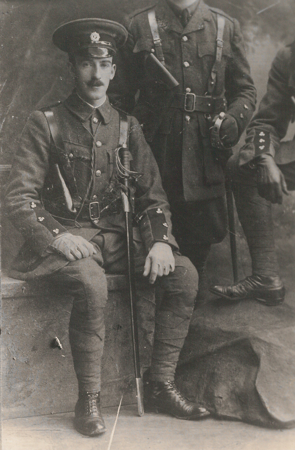 black-and-white picture segment, showing seated Edward 'Ned' Daly in military uniform