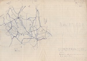 hand-drawn map of the East Limerick Brigade area of operation, with annotations