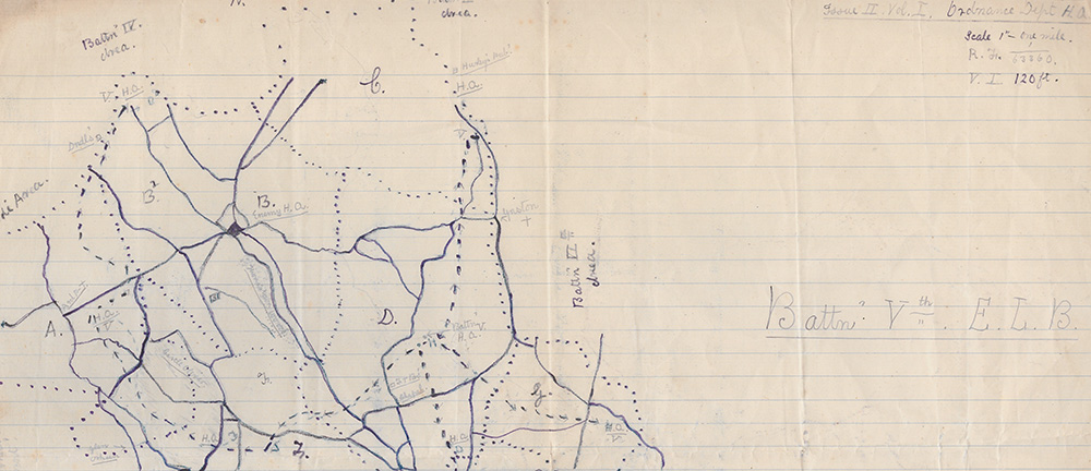 detail of hand-drawn map of the East Limerick Brigade area of operations, with annotations