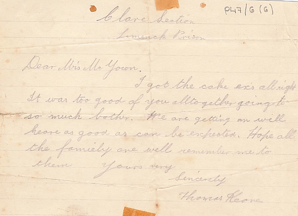 handwritten letter with stains and creases from Thomas Keane to Annie McGowan