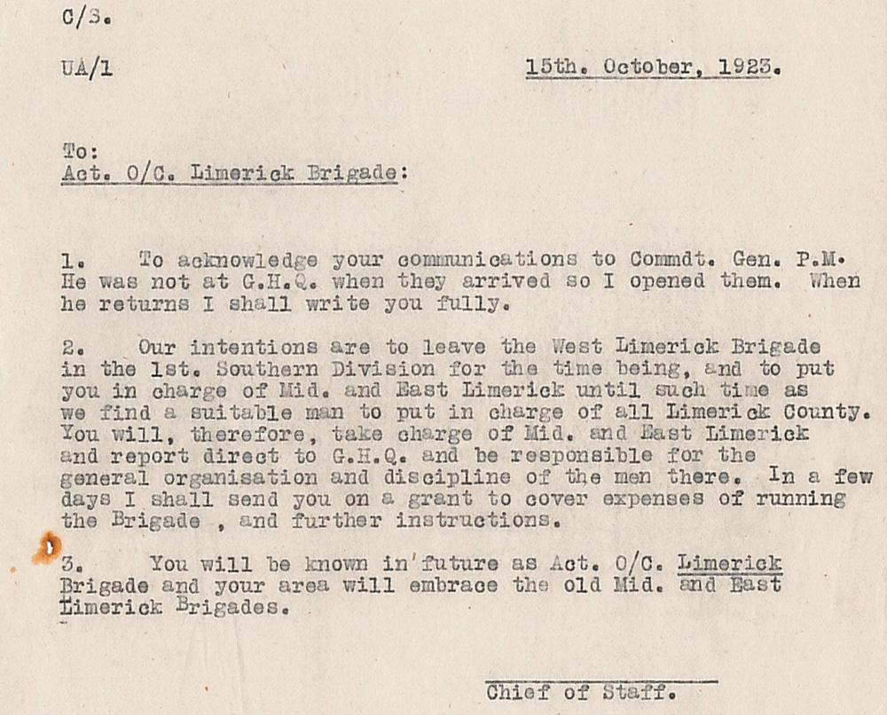 machine-typed formal letter concerning the Limerick Brigade