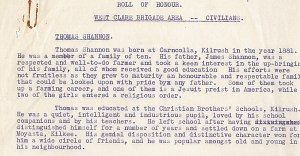 extract of a machine-typed formal report with rust mark of a paperclip concerning Thomas Shannon