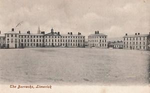 black-and-white postcard of Limerick Barracks