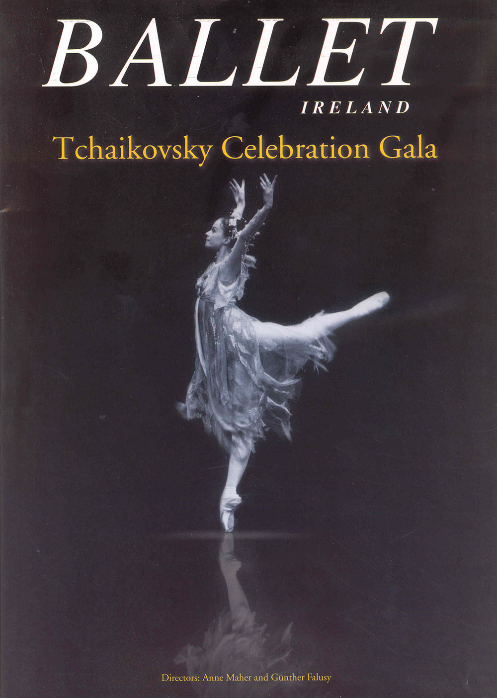 black-and-white poster advertising the Tchaikovsky Celebration Gala performed by Ballet Ireland, featuring artwork of a dancing ballerina