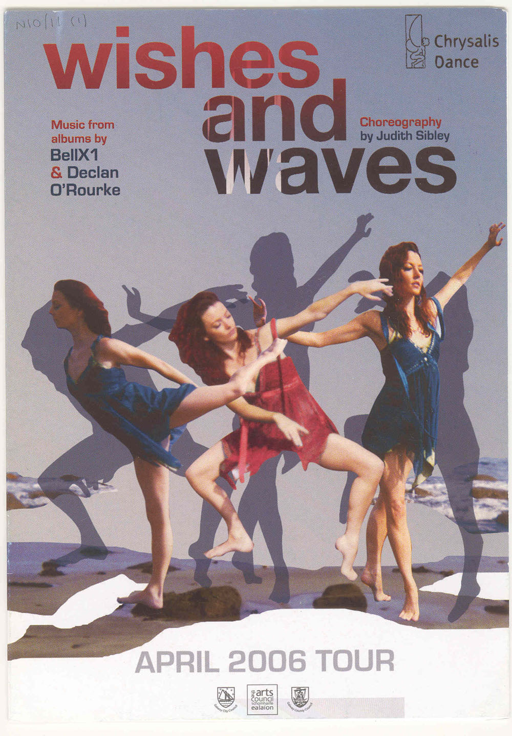 programme advertising Wishes and Waves performed by Chrysalis Dance, featuring artwork of three female dancers mid-dance