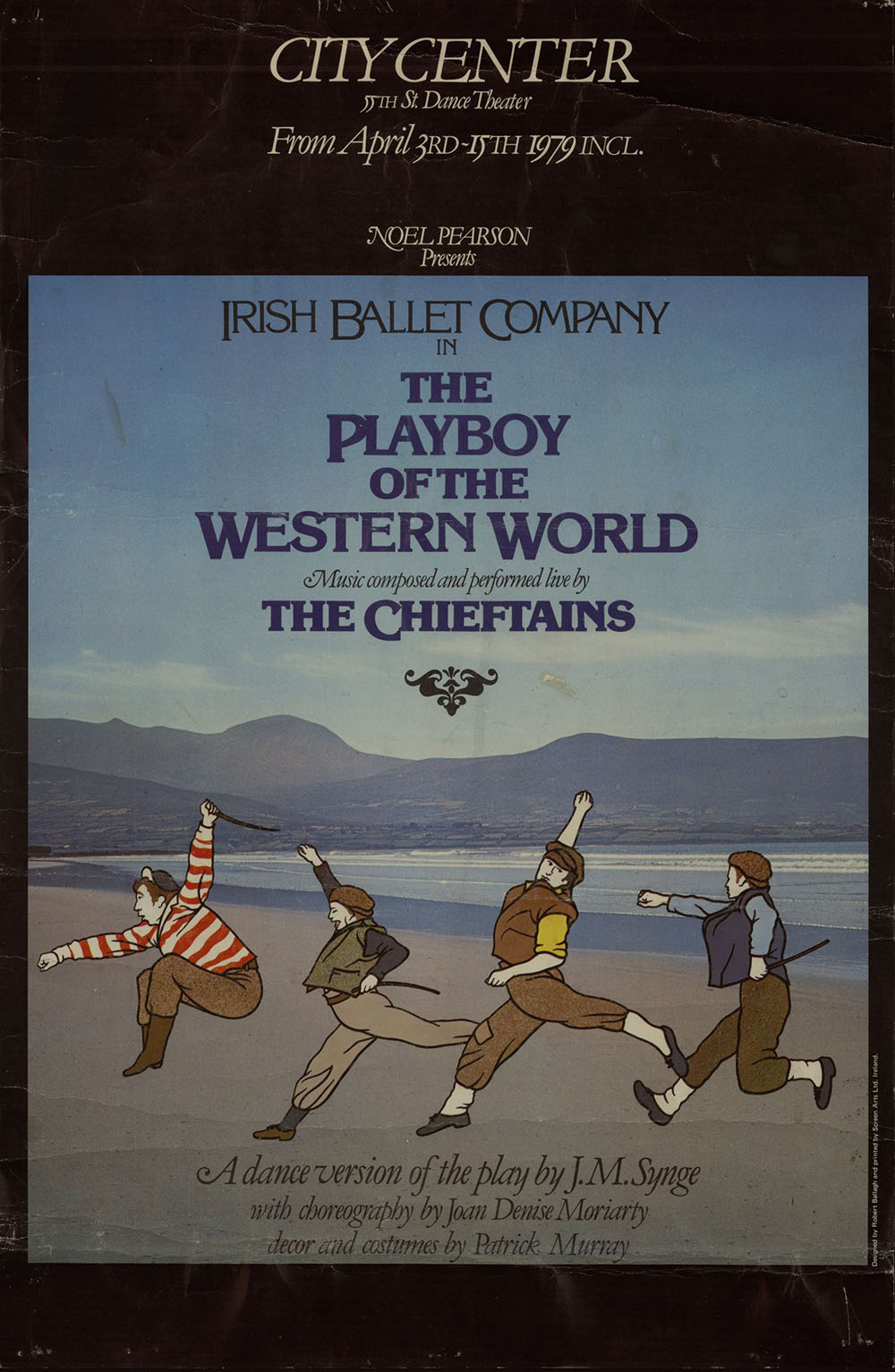 Poster advertising The Playboy of the Western World by the Irish Ballet Company, featuring artwork of four men dancing on the beach