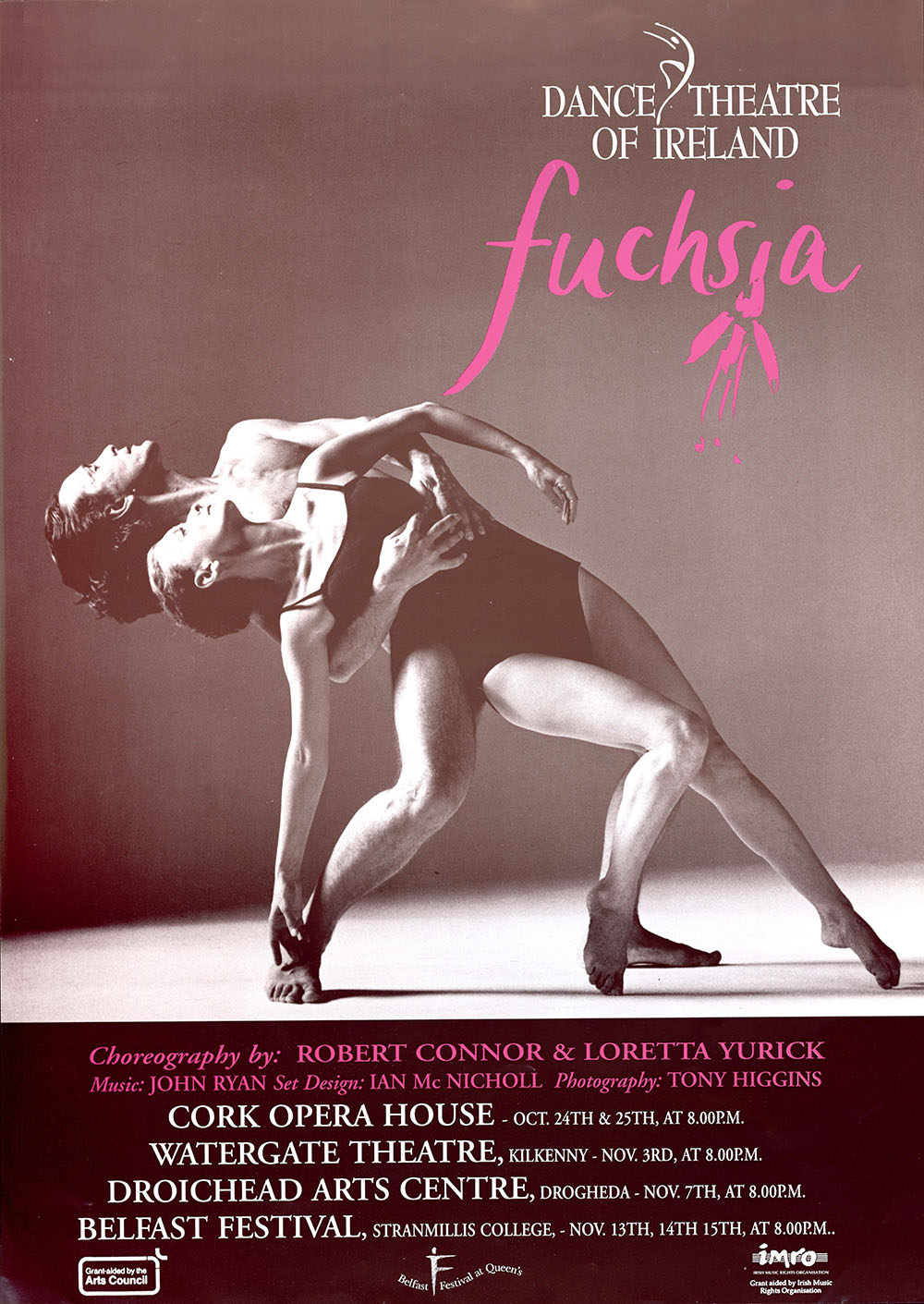 black-and-white poster advertising Fuchsia by Dance Theatre of Ireland, featuring artwork of a male and female dancer, bare-feet, mid-dance