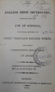 Autographed title page of Connellan's English Irish Dictionary