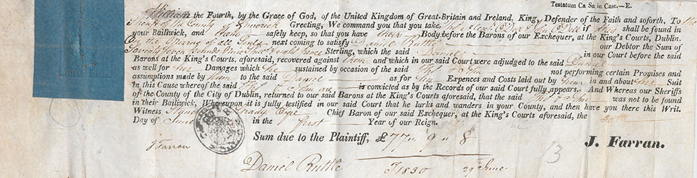Writ issued to Thomas and John Odell for debts owed to Daniel Ruttle, with signature and stamp