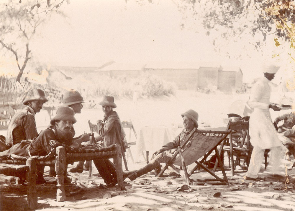 black-and-white image of five officers of the 10th Royal Hussars, seated