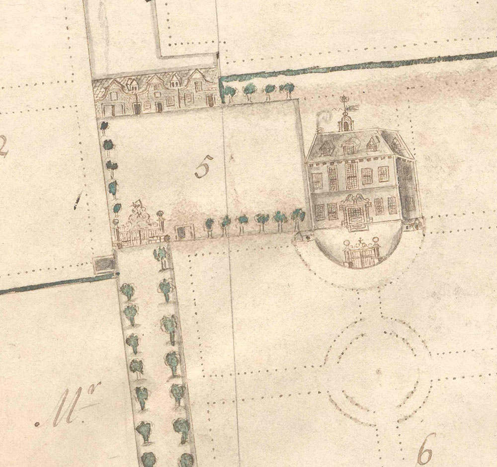 detail of a hand-drawn map of the house and demesne of Mount Eccles, Dublin, featuring annotations and illustrations