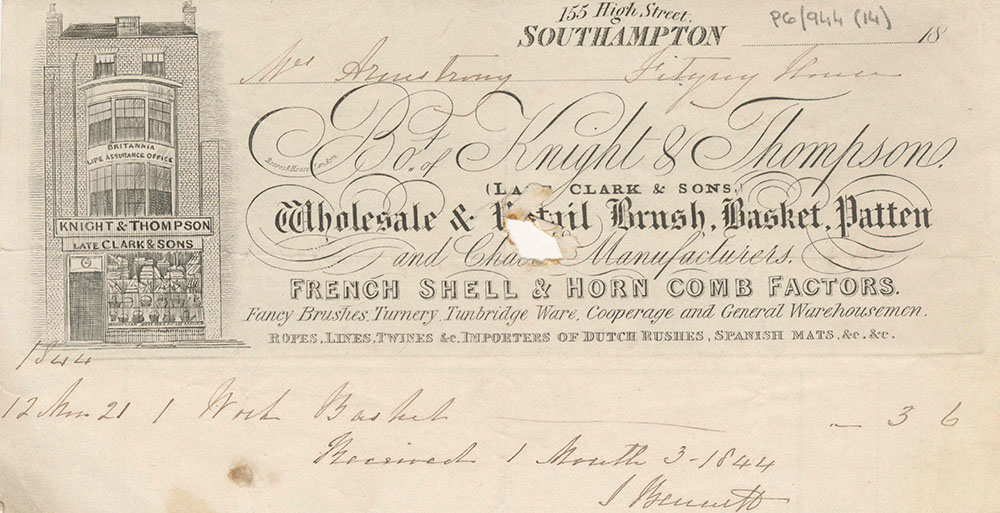 Receipt for a work basket from a Southampton shop, featuring annotations and an illustration of the shop