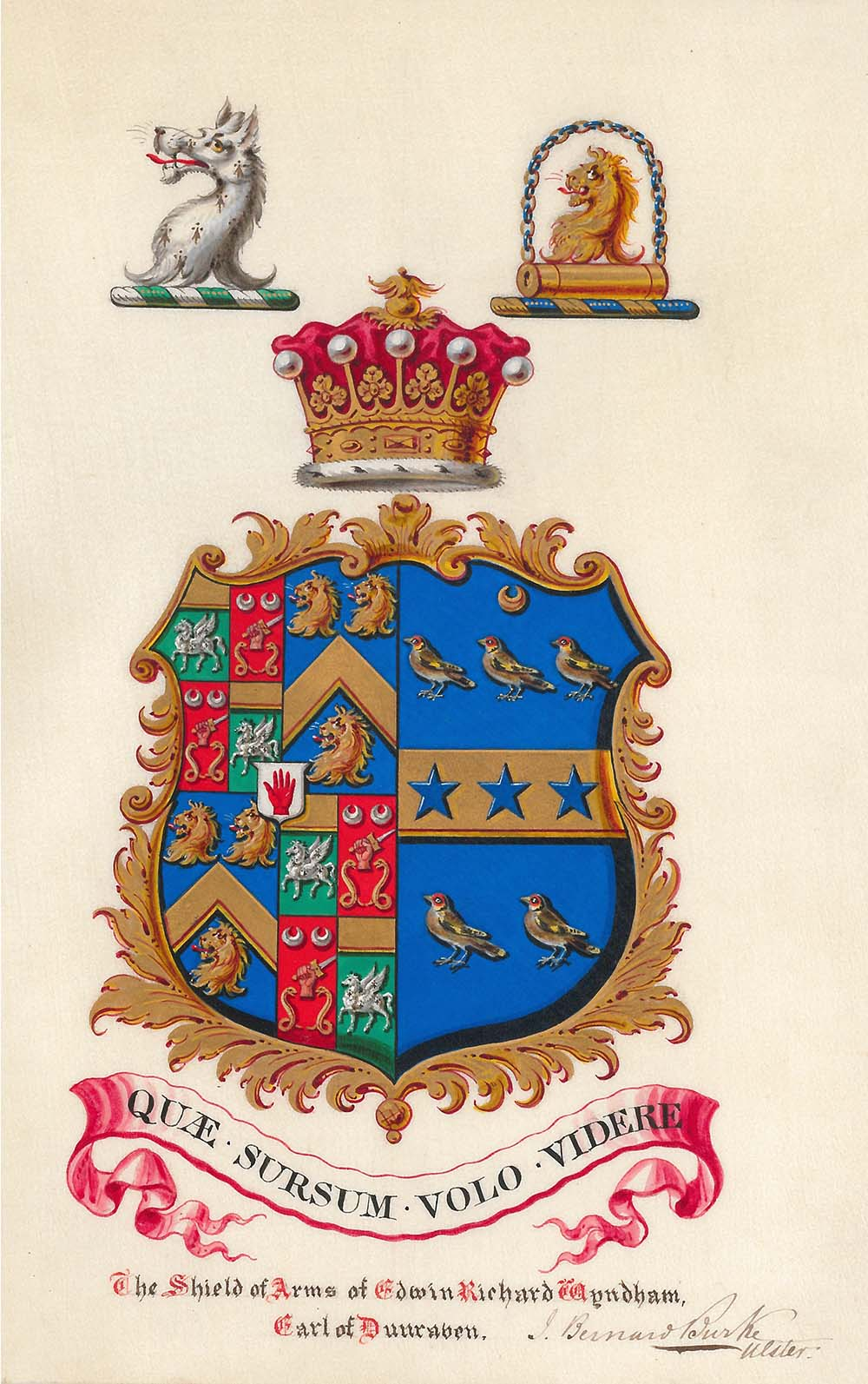 coloured shield of arms of the 3rd Earl of Dunraven