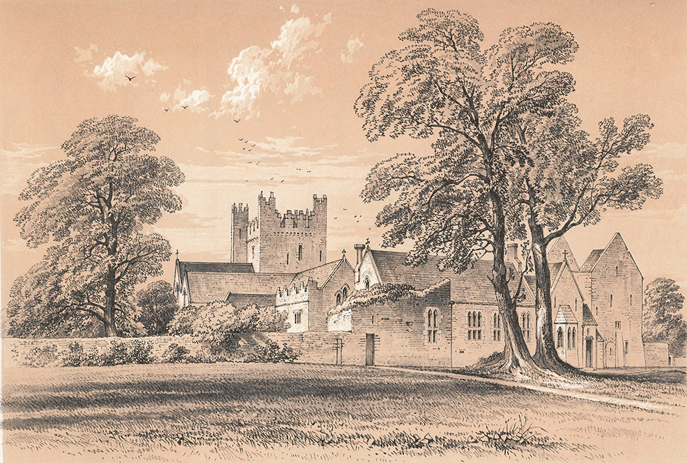 illustration of the Trinitarian Abbey from the convent garden from Memorials of Adare Manor