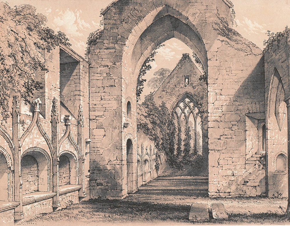 illustration of the Franciscan Abbey ruins from Memorials of Adare Manor