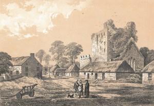 coloured illustration of Adare village before 1810 in Memorials of Adare Manor