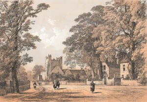 coloured illustration of Adare Village after 1810 from Memorials of Adare Manor