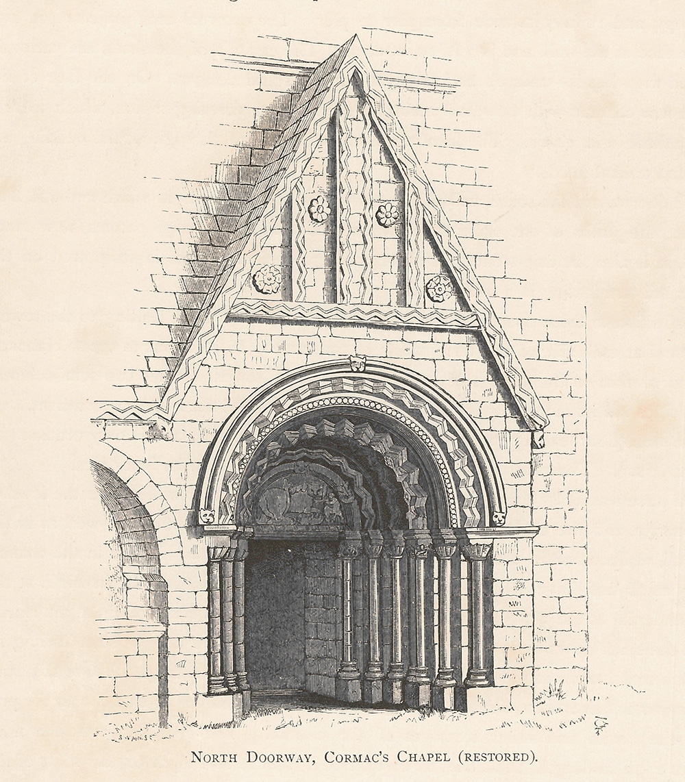 black-and-white illustration of the north doorway of Cormac's Chapel in Notes on Irish Architecture