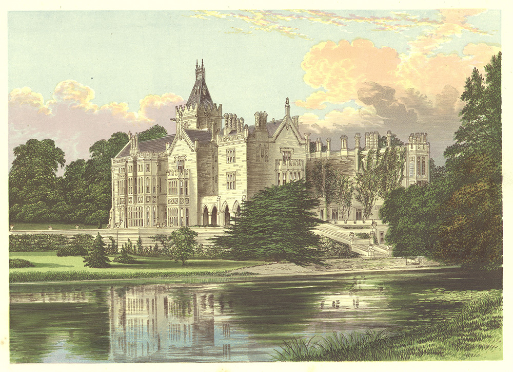 coloured drawing of Adare Manor and surrounding park