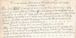 Page of handwritten recipes for invisible ink from Edmund Pery's commonplace book