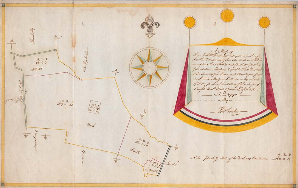 Handwritten map of parts of Scart West, Co. Tipperary by Thomas Fowley, featuring annotations and coloured decorations