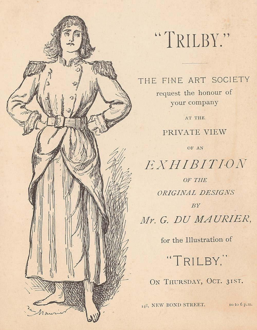 Invitation to an exhibition of illustrations by George du Maurier for his Gothic novel, Trilby, featuring an illustration of a woman