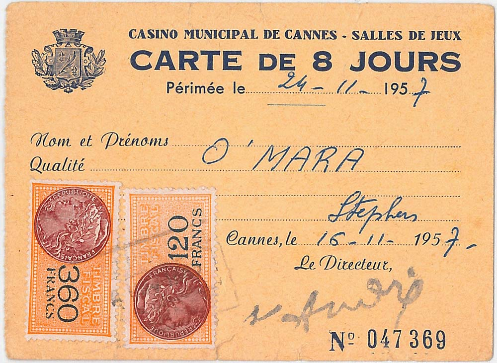Ticket issued to Stephen O'Mara to a Cannes' casino, featuring French stamps