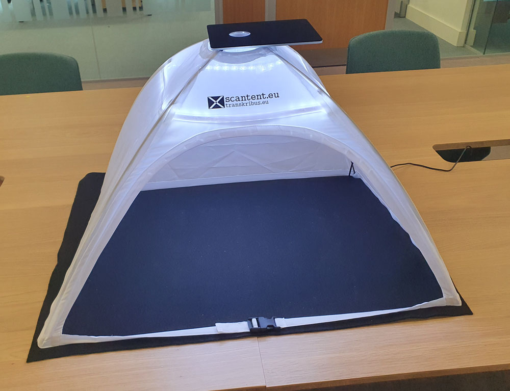 Front face view of the Scan Tent powered on and empty