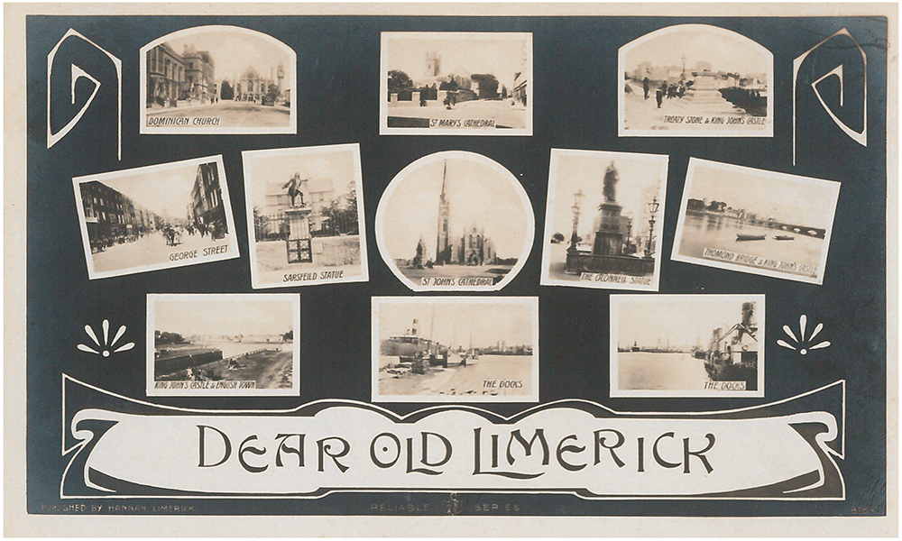 Black and white postcard titled 'Dear Old Limerick' displaying 10 areas in the city