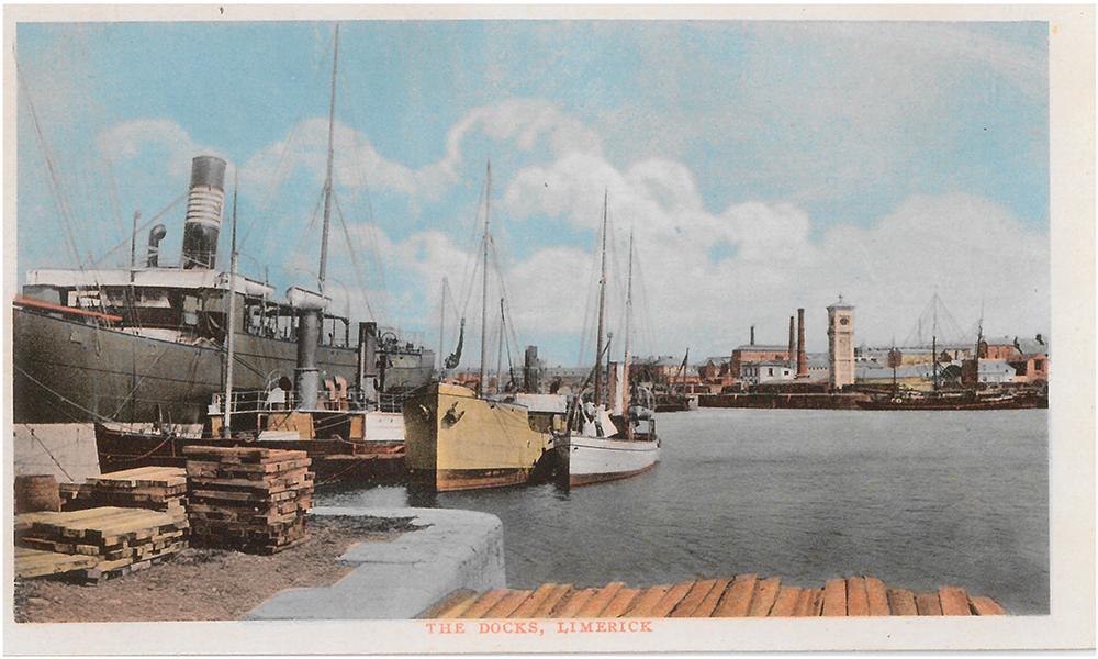 Coloured Postcard displaying the Limerick City Docks