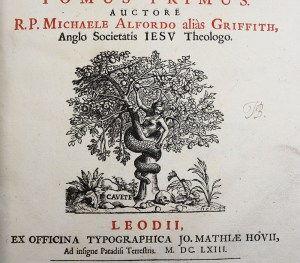 Photograph of printed image. Image of an apple tree, a naked woman with a snake's tail sitting in a fork in the tree, the tail wrapped around the trunk. The figure holds an apple in her right hand raised above her head. At the foot of the tree there are apples and a human skull. The word Cavete is on a rock next to the tree.